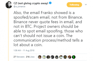 Scam email by Franko